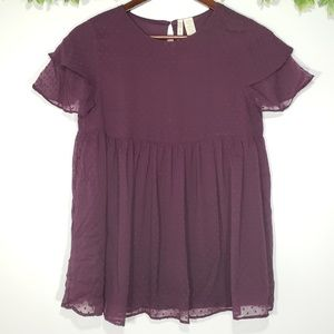 NWT Japna Plum Baby Doll Top with Ruffled Sleeves